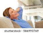 portrait of older woman smiling ... | Shutterstock . vector #586993769