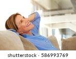 portrait of older woman smiling ... | Shutterstock . vector #586993769