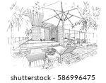 sketch streaks swimming pool ...   Shutterstock .eps vector #586996475