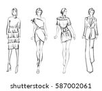 sketch. fashion girls on a... | Shutterstock .eps vector #587002061