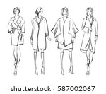 sketch. fashion girls on a... | Shutterstock .eps vector #587002067