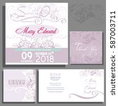 set of wedding cards or... | Shutterstock .eps vector #587003711