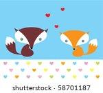 cute fox doodle couple in love   Shutterstock .eps vector #58701187
