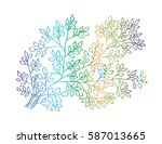 leaf hand drawing illustration. ... | Shutterstock .eps vector #587013665