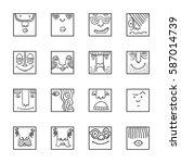 people face cartoon vector... | Shutterstock .eps vector #587014739