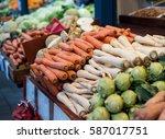 vegetable market. vegetables on ... | Shutterstock . vector #587017751