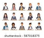 group of working people... | Shutterstock .eps vector #587018375
