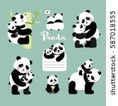 set of panda mother with baby... | Shutterstock .eps vector #587018555
