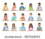group of working people... | Shutterstock .eps vector #587018591