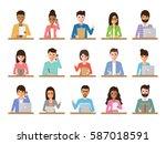 group of working people... | Shutterstock .eps vector #587018591