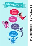 funny comic probiotics bacteria ... | Shutterstock .eps vector #587021951