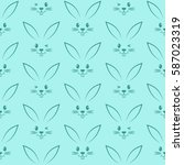 seamless pattern with easter... | Shutterstock . vector #587023319