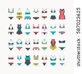 vector beautiful women swimwear ... | Shutterstock .eps vector #587023625