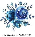 indigo blue  watercolor hand... | Shutterstock . vector #587026925