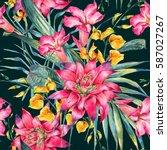 watercolor vintage floral... | Shutterstock . vector #587027267