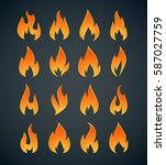 abstract vector flame logos... | Shutterstock .eps vector #587027759