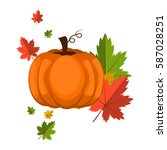 pumpkin over white background... | Shutterstock .eps vector #587028251