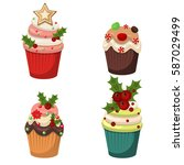 cupcakes and muffins vector.... | Shutterstock .eps vector #587029499