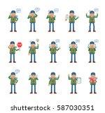 big set of mountaineer... | Shutterstock .eps vector #587030351