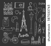 th  set of french symbols and... | Shutterstock .eps vector #587033765