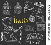 hand drawn set of italian... | Shutterstock .eps vector #587033771
