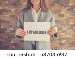 law and order concept | Shutterstock . vector #587035937