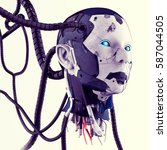the head of a cyborg with wires ... | Shutterstock . vector #587044505