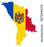 moldova flag map | Shutterstock .eps vector #587049374