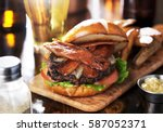 bacon cheeseburger on toasted... | Shutterstock . vector #587052371