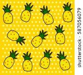 pineapples background vector... | Shutterstock .eps vector #587056079