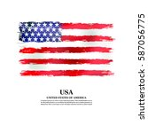 usa flag in grunge style on a... | Shutterstock .eps vector #587056775