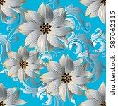 floral seamless pattern. damask ... | Shutterstock .eps vector #587062115