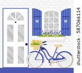 vector illustration with window ... | Shutterstock .eps vector #587066114