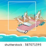 summer poster  beach  sky  sea  ... | Shutterstock .eps vector #587071595