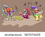 three fabulous dwarfs   in... | Shutterstock .eps vector #587074205