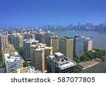 aerial mumbai financial capital ...   Shutterstock . vector #587077805
