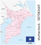 chiba prefecture map with flag  ... | Shutterstock .eps vector #587082665