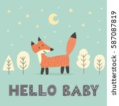 baby shower card with a cute... | Shutterstock .eps vector #587087819