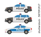 police cars side view on white... | Shutterstock .eps vector #587091917