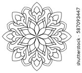 vector simple mandala with... | Shutterstock .eps vector #587093447