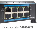 power over ethernet switch on a ... | Shutterstock . vector #587094497