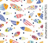 colorful fish. vector seamless... | Shutterstock .eps vector #587097521