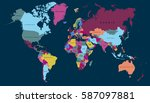 world map countries vector on... | Shutterstock .eps vector #587097881