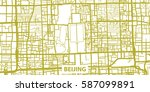 detailed vector map of beijing... | Shutterstock .eps vector #587099891