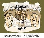 drawing funny animal alaska | Shutterstock .eps vector #587099987