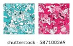 set of graffiti pattern with... | Shutterstock .eps vector #587100269