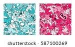 Set Of Graffiti Pattern With...