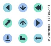 set of 9 simple indicator icons.... | Shutterstock .eps vector #587101445