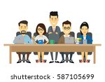 asian business people... | Shutterstock .eps vector #587105699