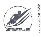 swimming club logo templates.... | Shutterstock .eps vector #587106005